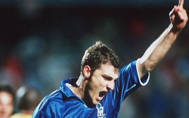 29 marzo 1997: il debuttante Christian Vieri segna il gol 1.000 dell'Italia