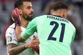 Donnarumma e Spinazzola nella partita Belgio Italia Euro 2020