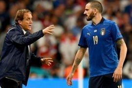 Bonucci e Mancini impegnati nella gara Italia Svizzera qualificazioni Qatar 2022